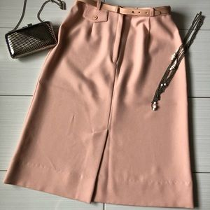 Vintage Peach Belted Pencil Skirt